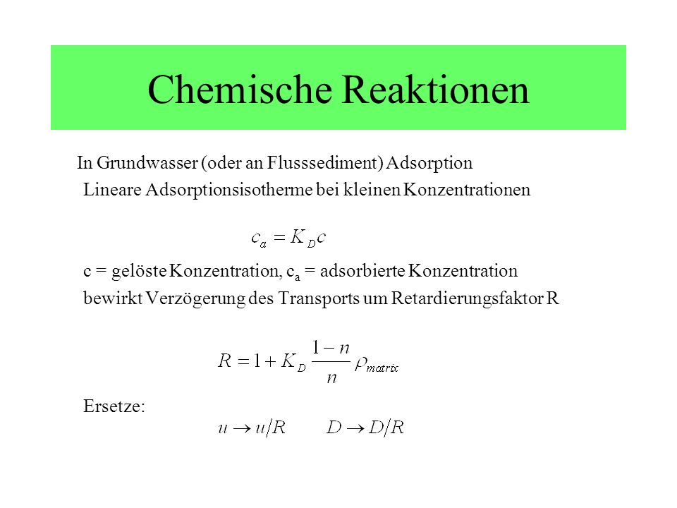 Chemische Reaktionen In Grundwasser (oder an Flusssediment) Adsorption