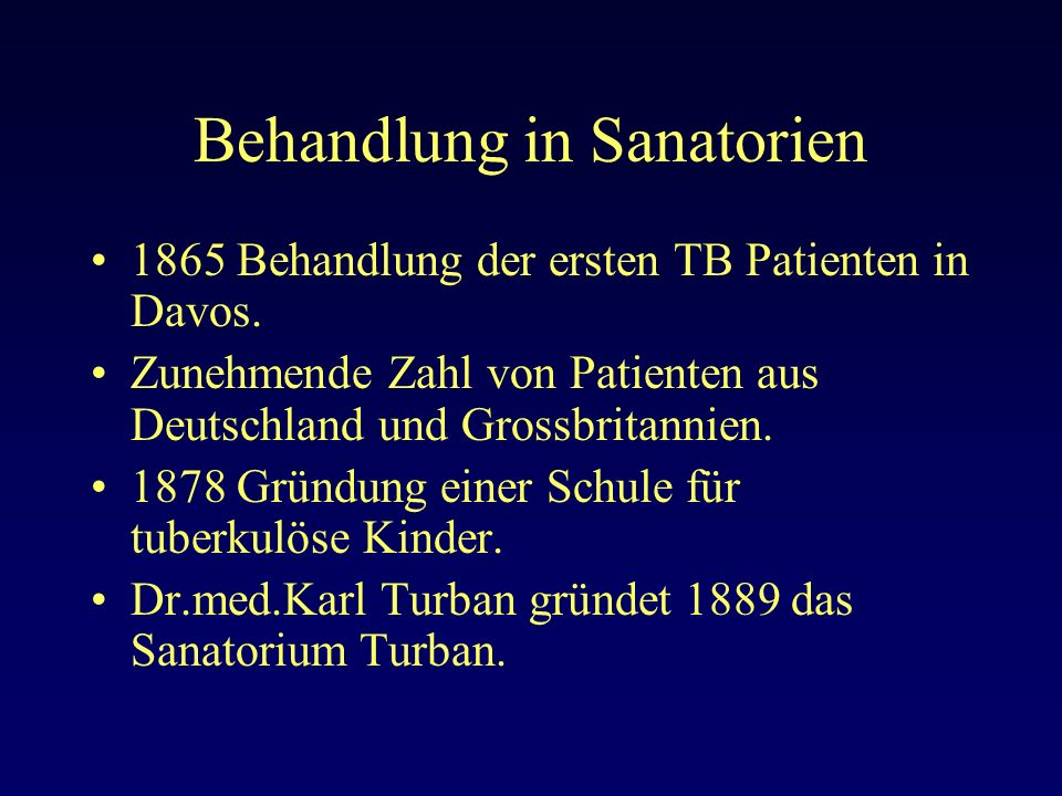 Behandlung in Sanatorien