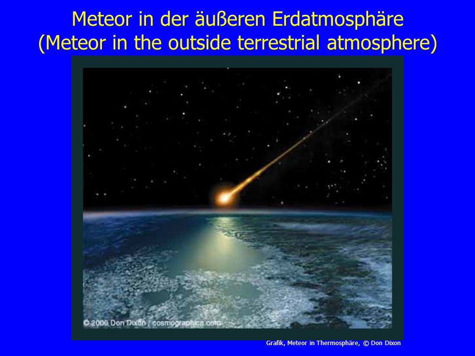 Meteor in der äußeren Erdatmosphäre (Meteor in the outside terrestrial atmosphere)