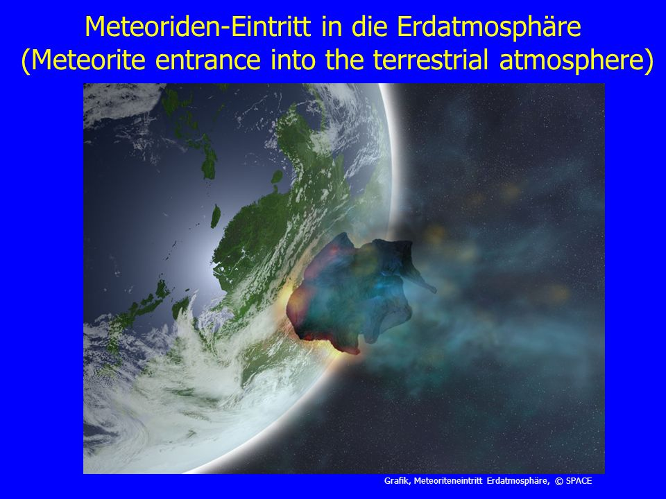 Meteoriden-Eintritt in die Erdatmosphäre (Meteorite entrance into the terrestrial atmosphere)