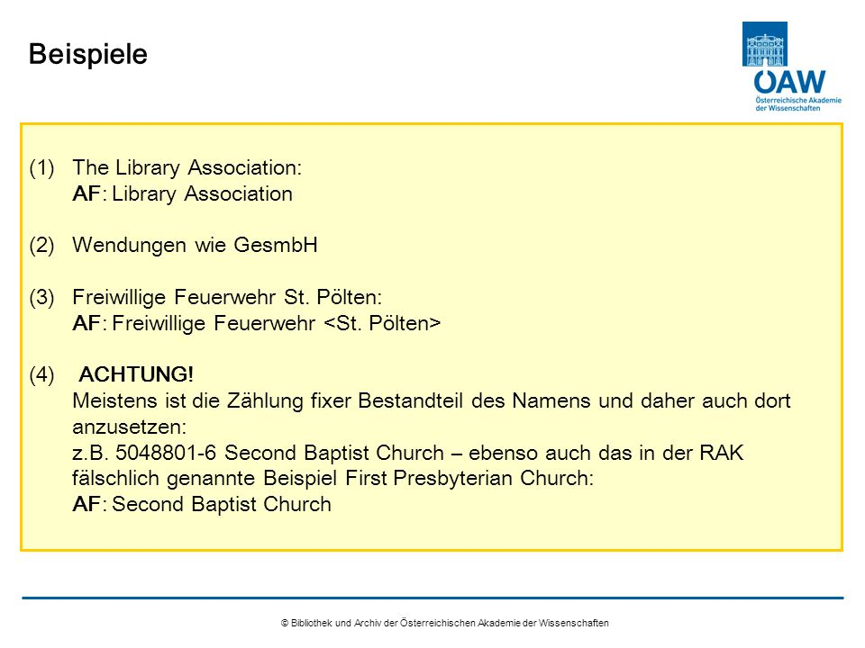 Beispiele The Library Association: AF: Library Association