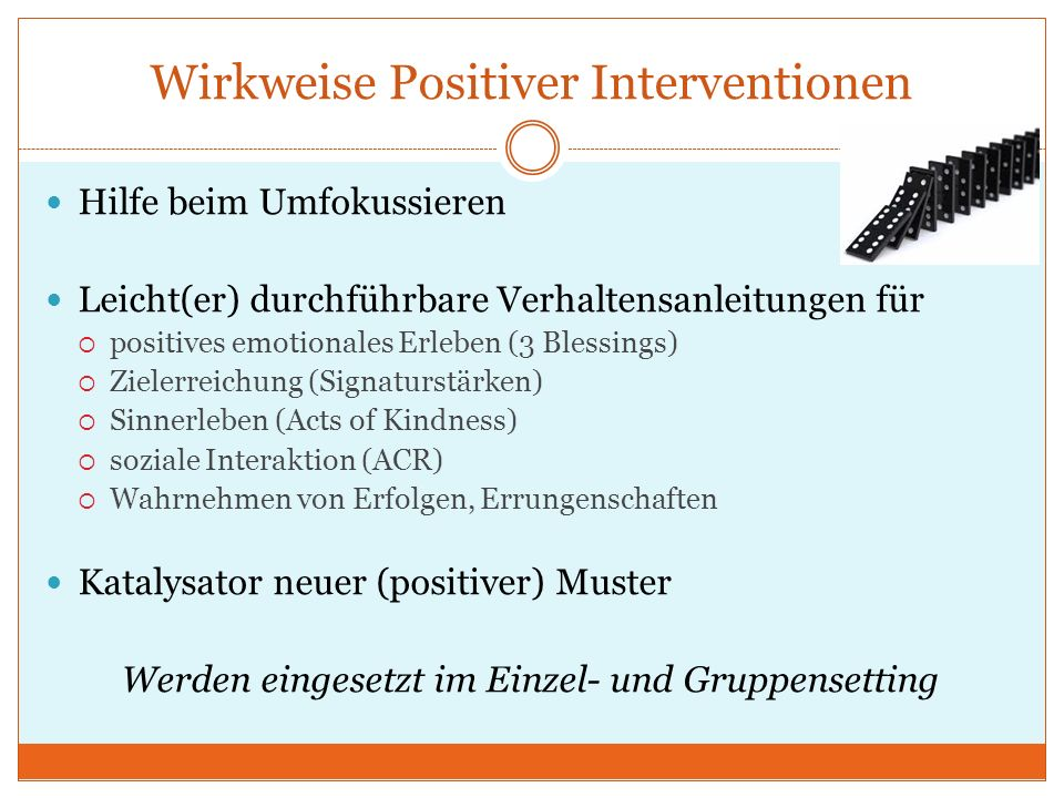 Wirkweise Positiver Interventionen