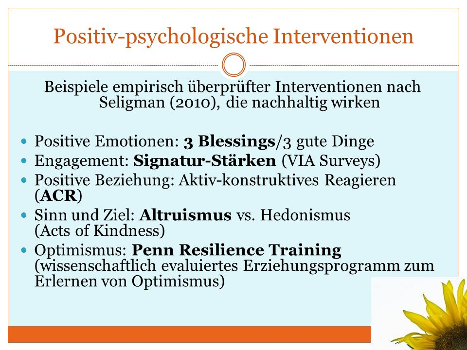Positiv-psychologische Interventionen