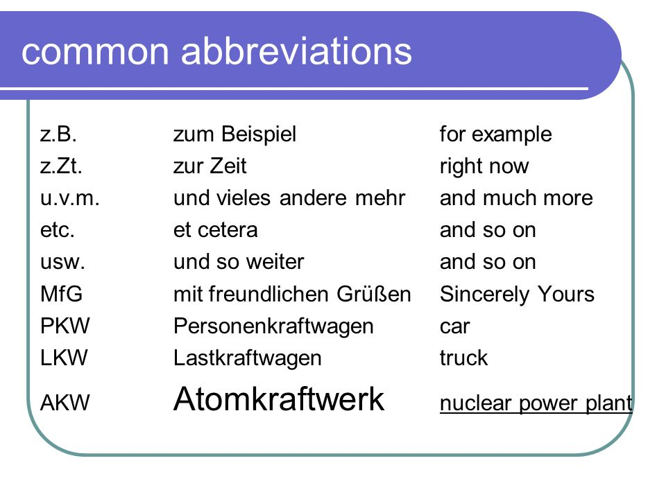 common abbreviations z.B. zum Beispiel for example