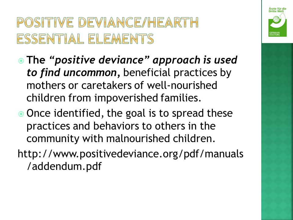 Positive Deviance/Hearth Essential Elements