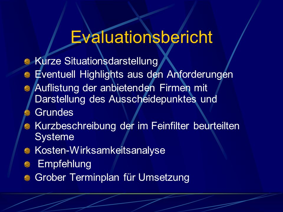 Evaluationsbericht Kurze Situationsdarstellung