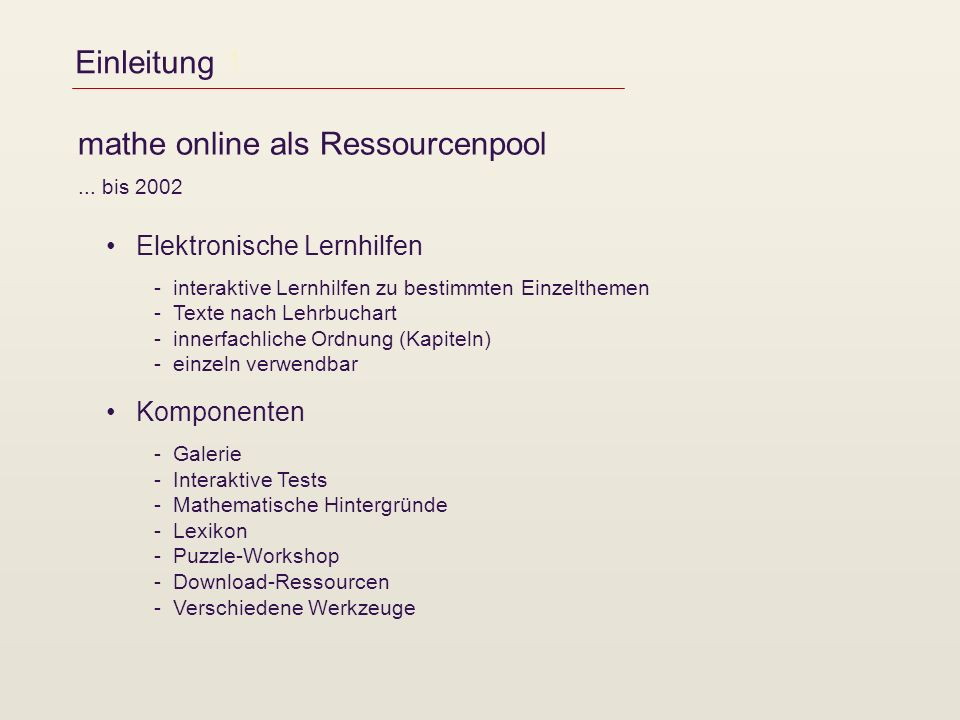 mathe online als Ressourcenpool