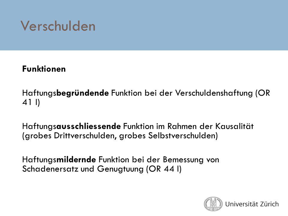 ÜBUNGEN IM HAFTPFLICHTRECHT FS 2012 THEMA IV: VERSCHULDEN - ppt ...