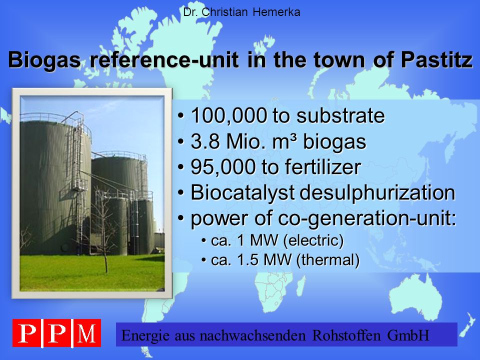 Biogas reference-unit in the town of Pastitz