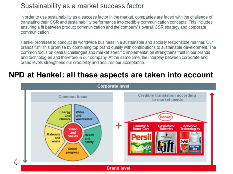 N NPD at Henkel: all these aspects are taken into account