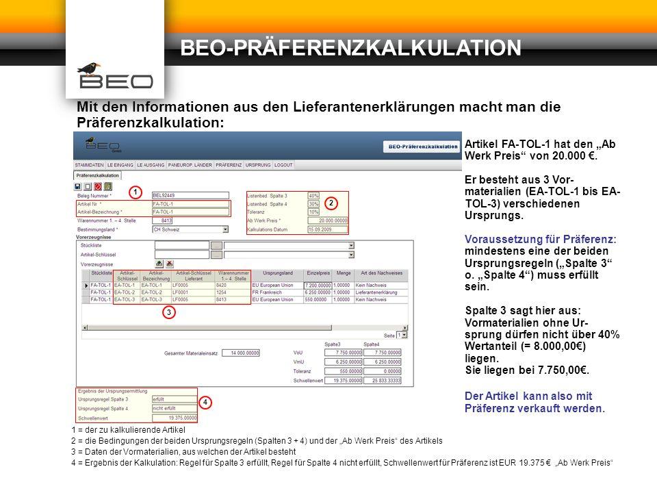 beo prferenzkalkulation - Praferenzkalkulation Beispiel