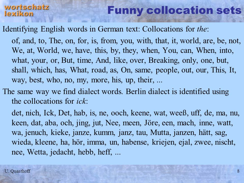 Funny collocation sets