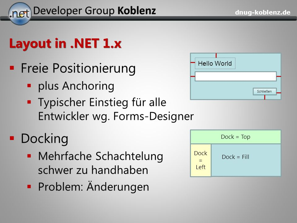 Layout in .NET 1.x Freie Positionierung Docking plus Anchoring