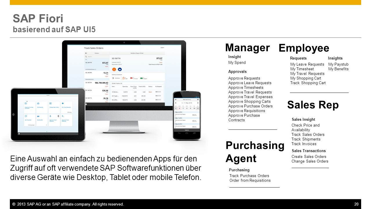 SAP Fiori Manager Employee Sales Rep Purchasing Agent