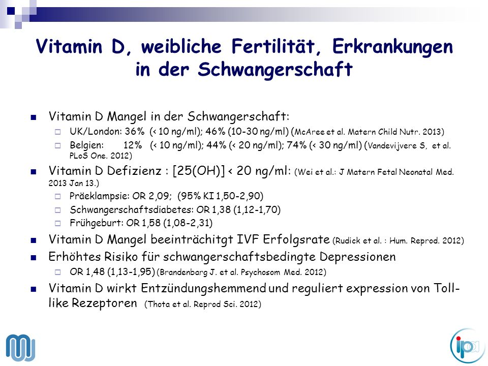 Vitamin d mangel in der schwangerschaft