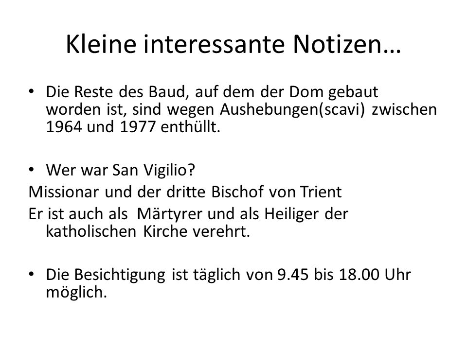 Kleine interessante Notizen…