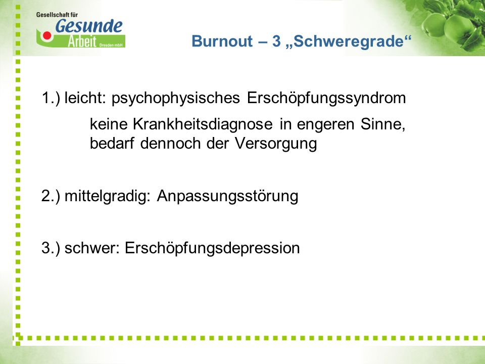 "Burnout – 3 ""Schweregrade"