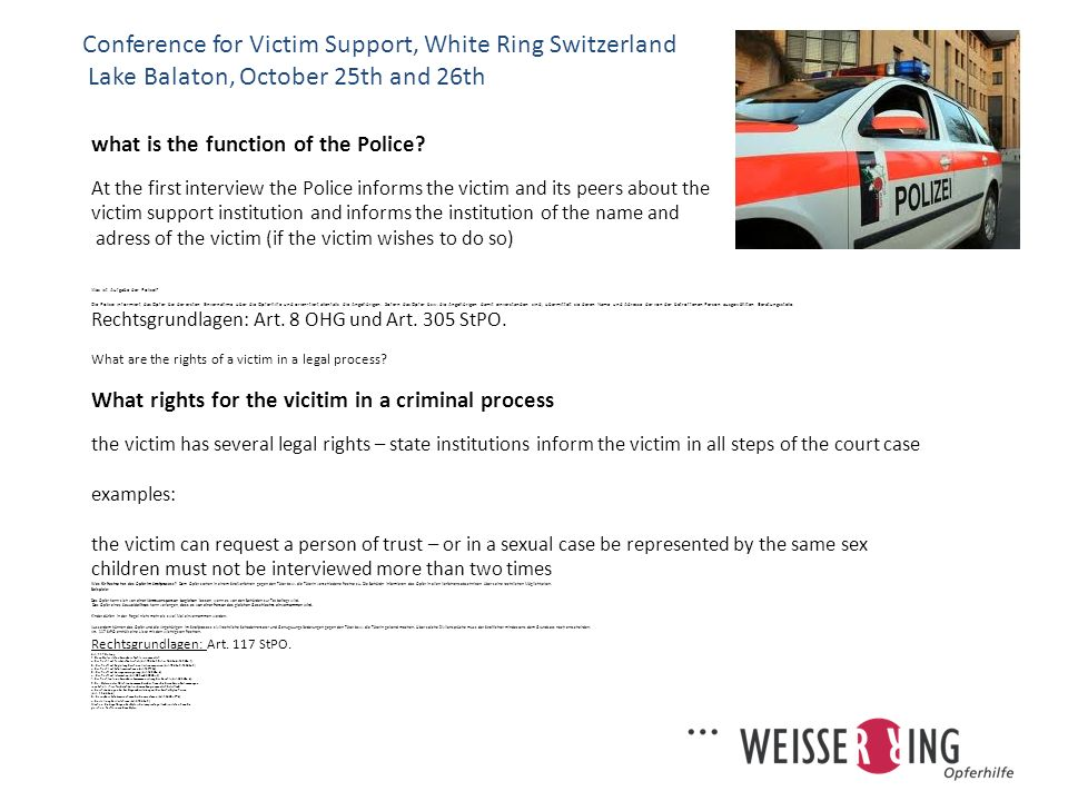 Conference for Victim Support, White Ring Switzerland