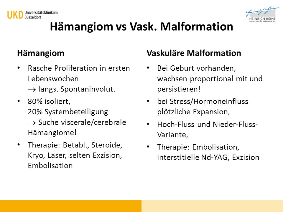 Hämangiom vs Vask. Malformation