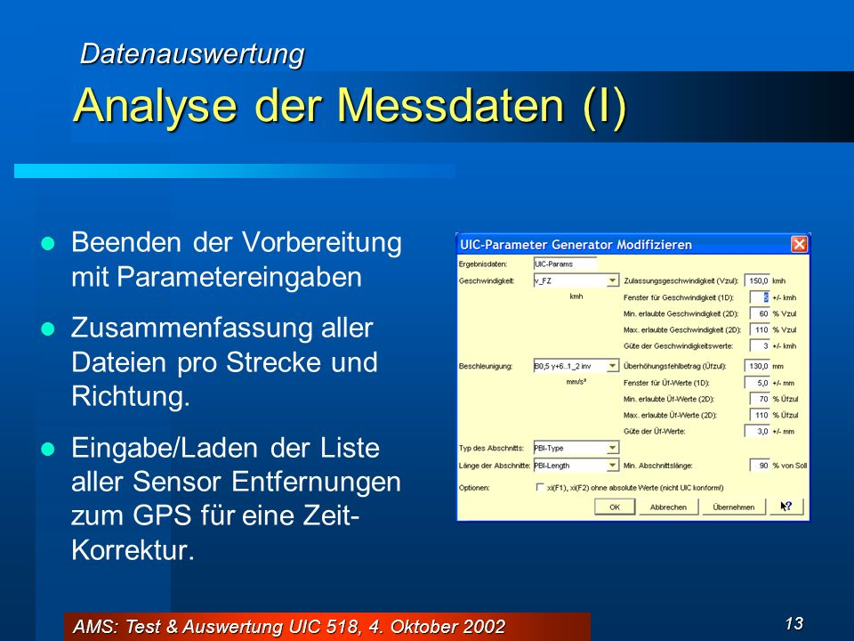 Analyse der Messdaten (I)