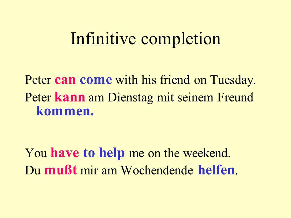 Infinitive completion