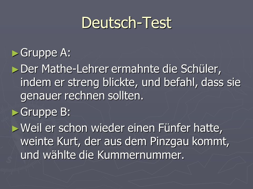 Deutsch-Test Gruppe A: