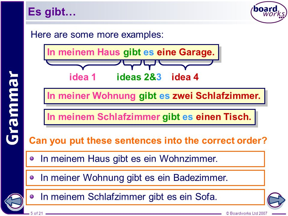 Es gibt… Here are some more examples: