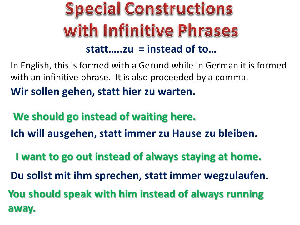 Special Constructions with Infinitive Phrases