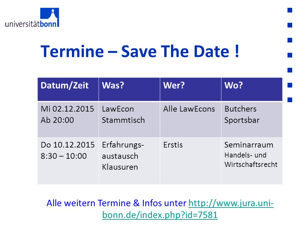 Termine – Save The Date ! Datum/Zeit Was Wer Wo
