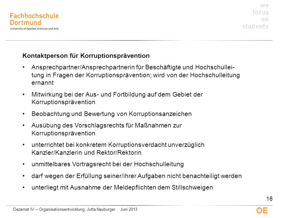 Kontaktperson für Korruptionsprävention