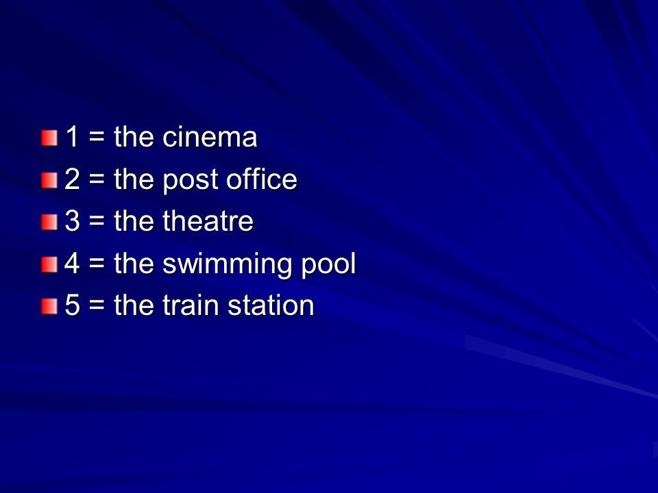 1 = the cinema 2 = the post office 3 = the theatre 4 = the swimming pool 5 = the train station