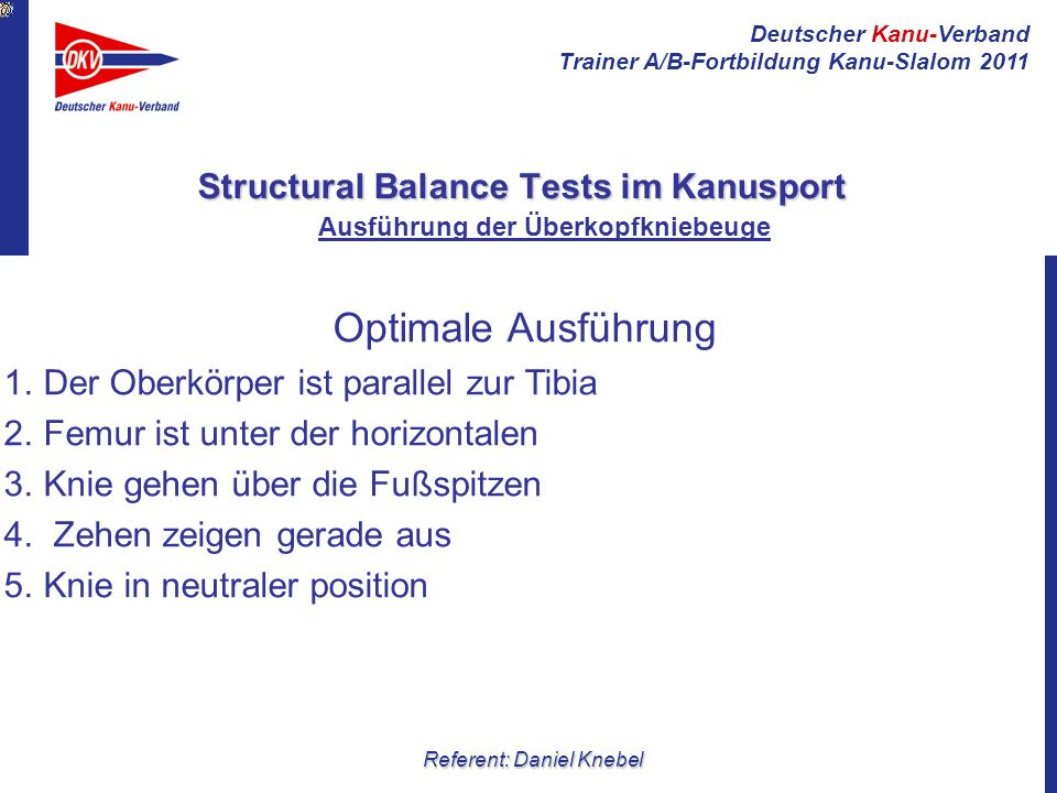 Structural Balance Tests im Kanusport