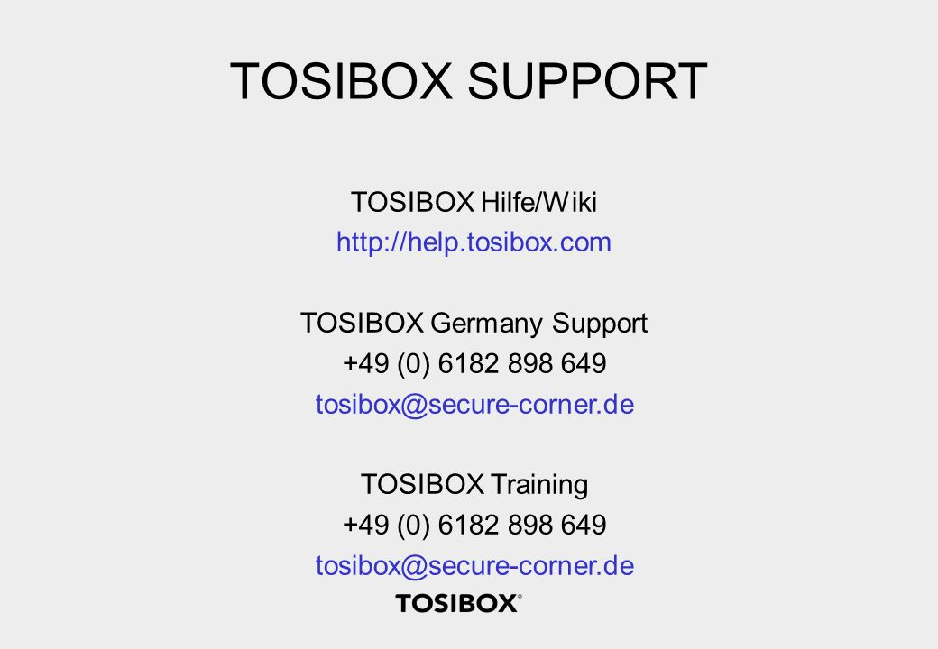 TOSIBOX Germany Support