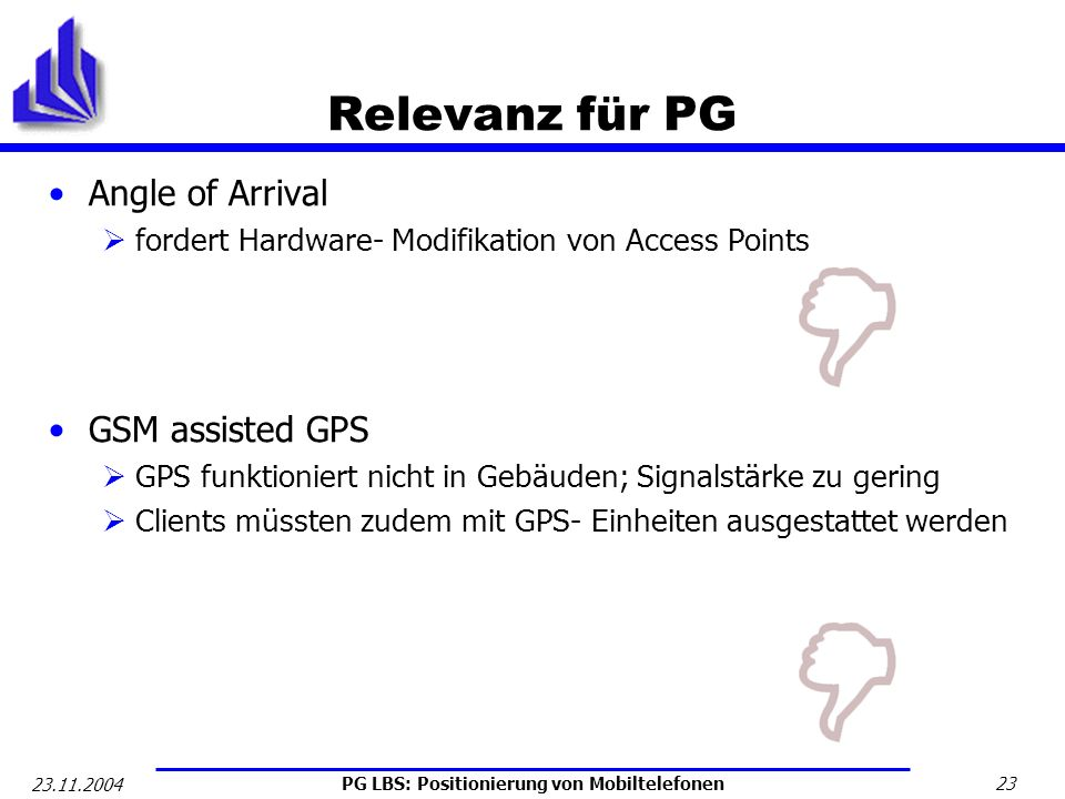 Relevanz für PG Angle of Arrival GSM assisted GPS