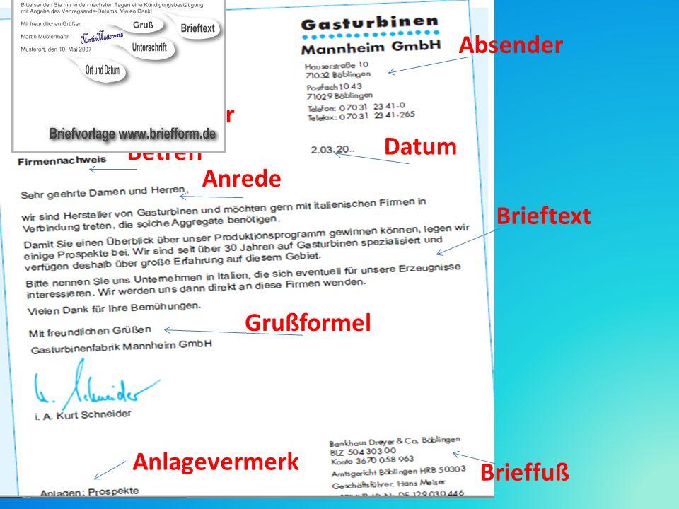 Absender Empfänger Datum Betreff Anrede Brieftext Grußformel Ppt