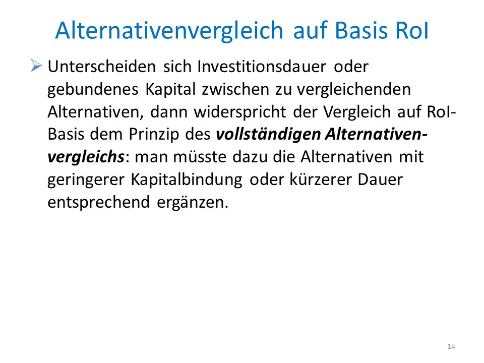 Alternativenvergleich auf Basis RoI