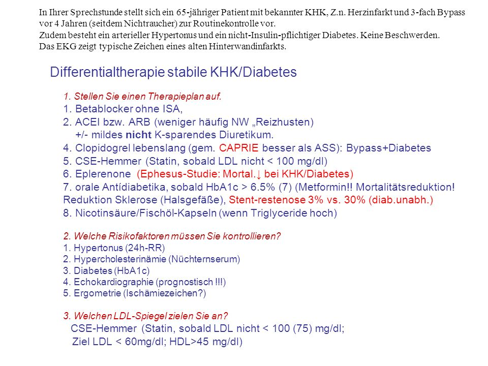 Differentialtherapie stabile KHK/Diabetes