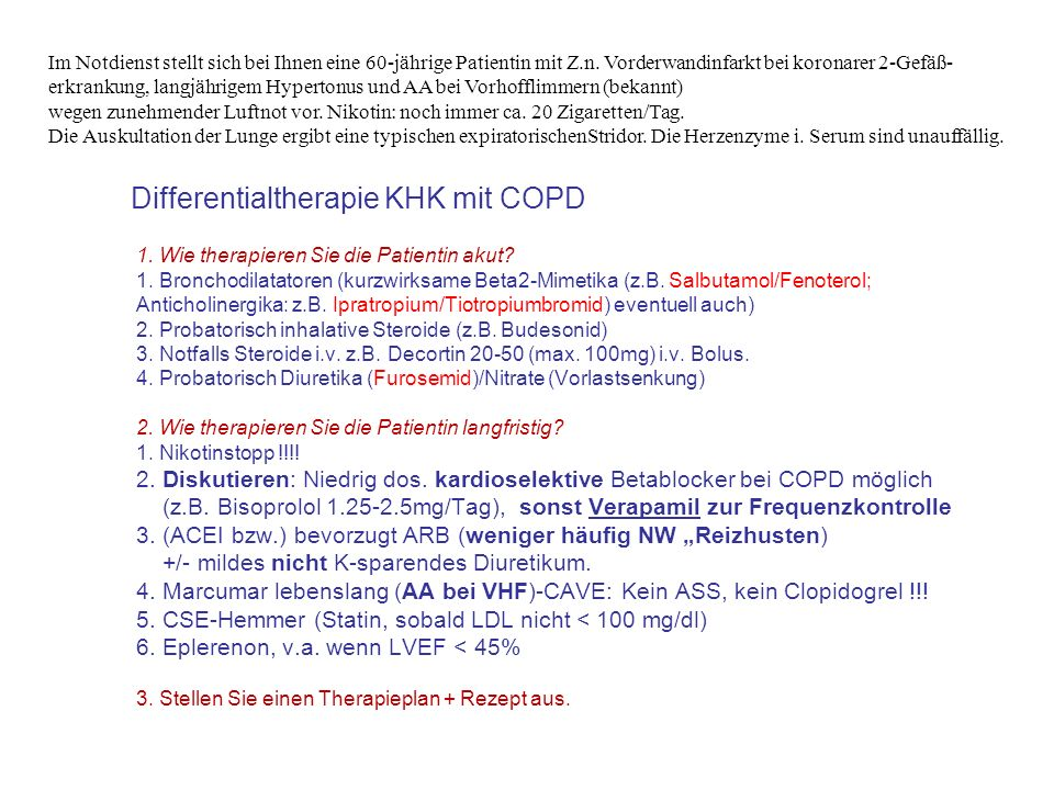 Differentialtherapie KHK mit COPD
