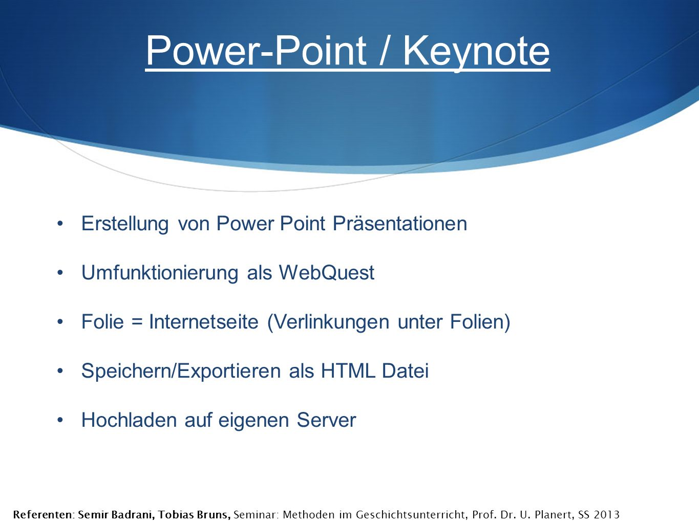 Power-Point / Keynote Erstellung von Power Point Präsentationen