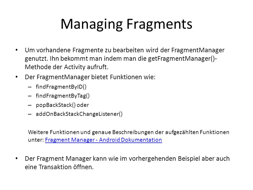 Managing Fragments