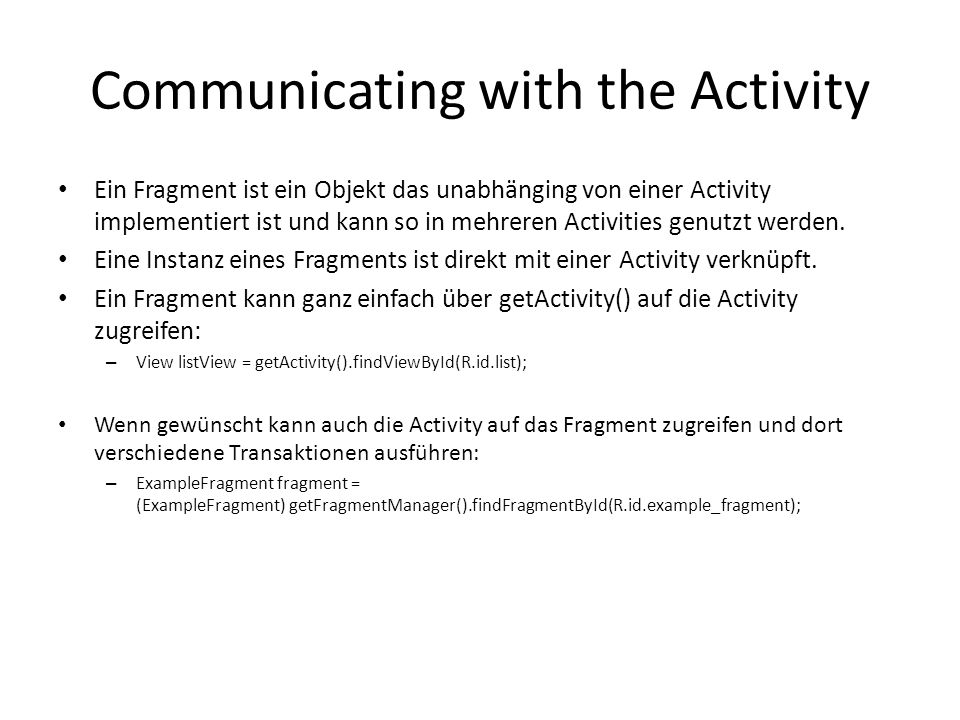 Communicating with the Activity