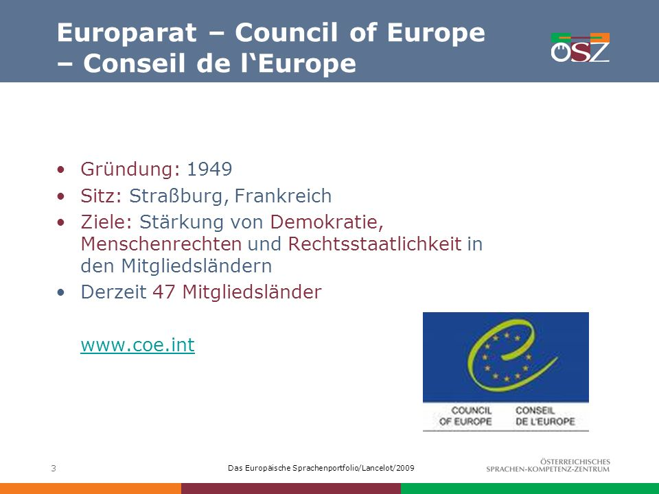 Europarat – Council of Europe – Conseil de l'Europe