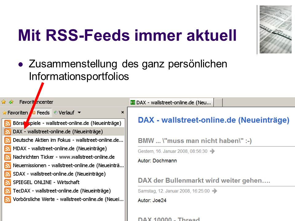 Mit RSS-Feeds immer aktuell