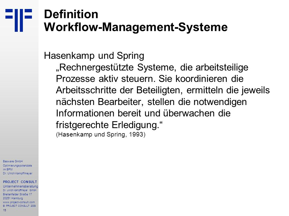 Definition Workflow-Management-Systeme