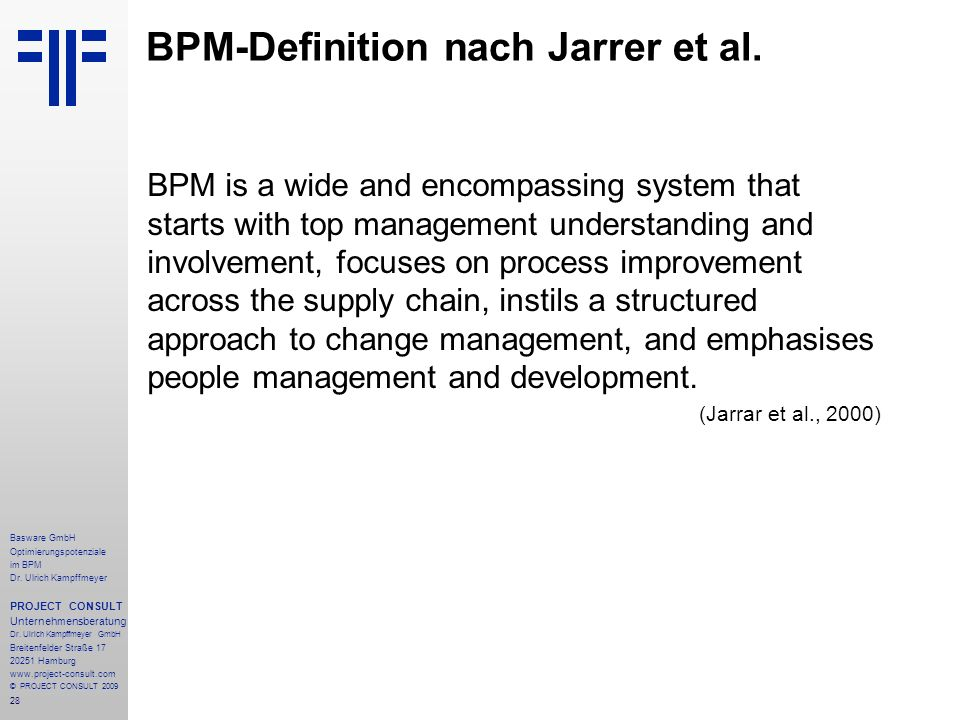 BPM-Definition nach Jarrer et al.