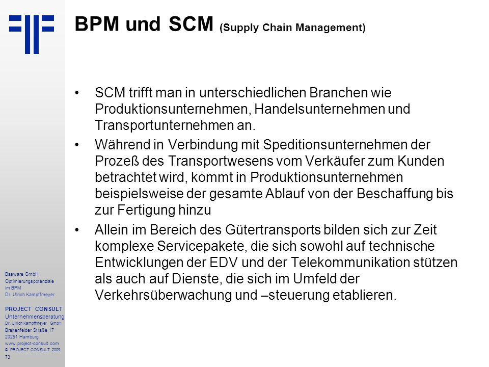 BPM und SCM (Supply Chain Management)