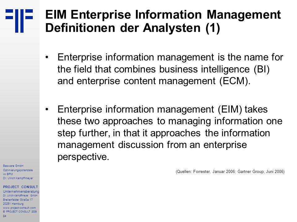 EIM Enterprise Information Management Definitionen der Analysten (1)