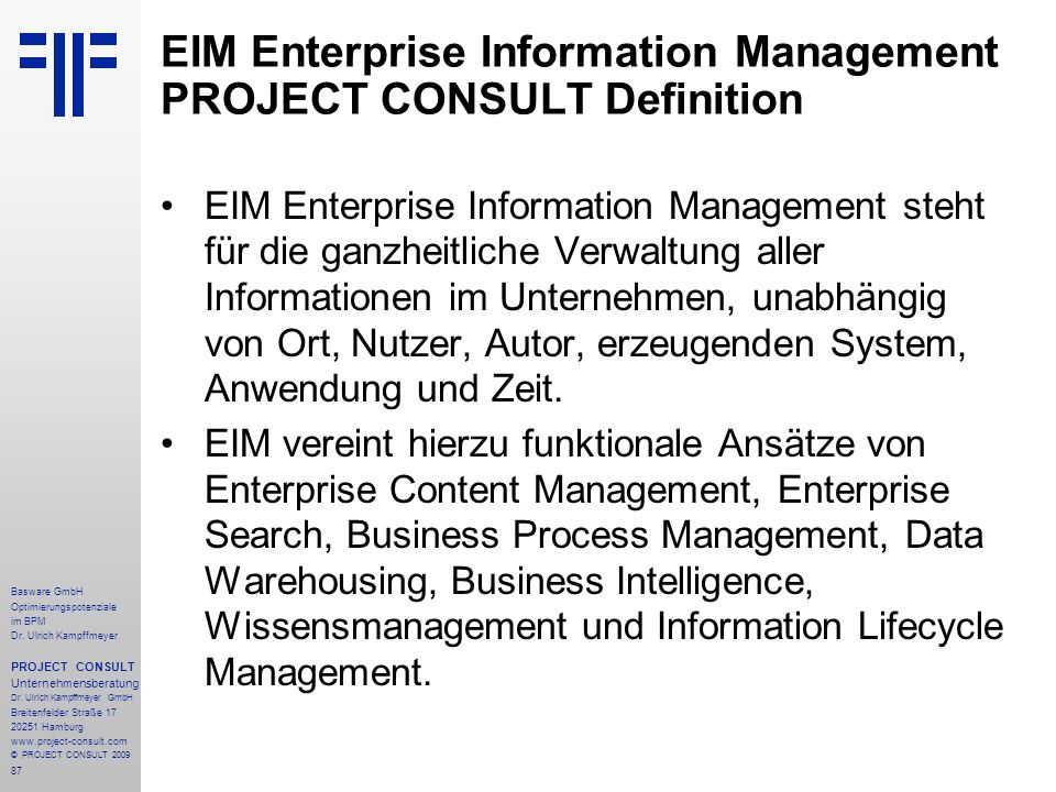 EIM Enterprise Information Management PROJECT CONSULT Definition
