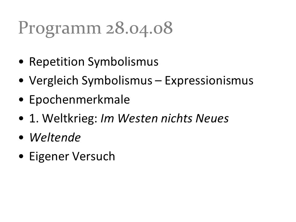 Programm 28.04.08 Repetition Symbolismus