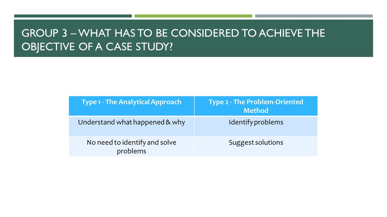 Group 3 – What has to be considered to achieve the objective of a case study
